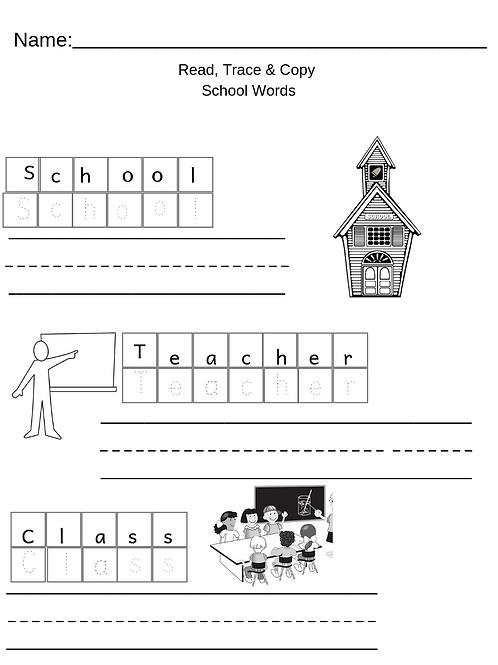 School Words Sight Words & Writing