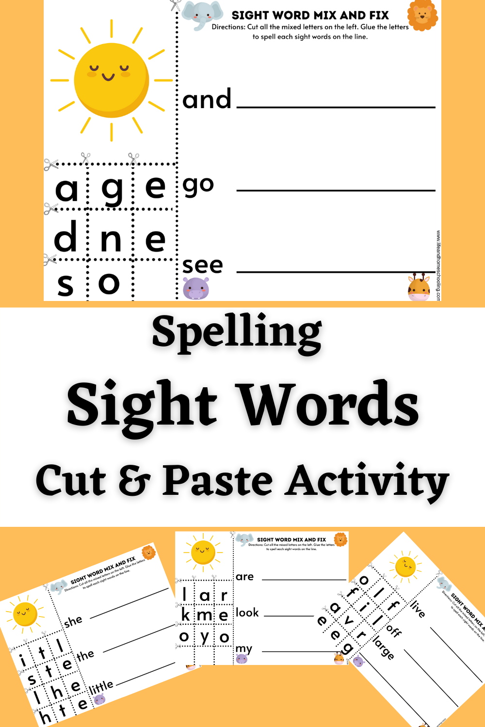 Spelling Sight Words Printable Activity/ Life and Homeschooling