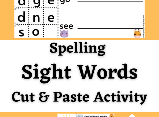 Spelling Sight Words Printable Activity