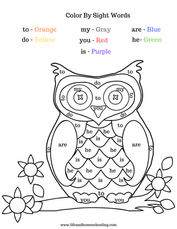Owl Color by Sight Words