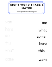 Sight Words Trace and Match