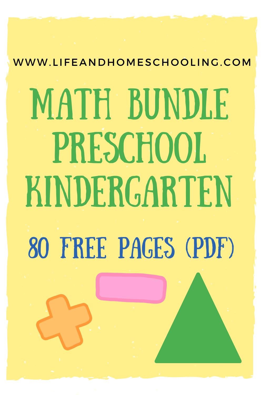 Free Preschool Math Worksheet Bundle