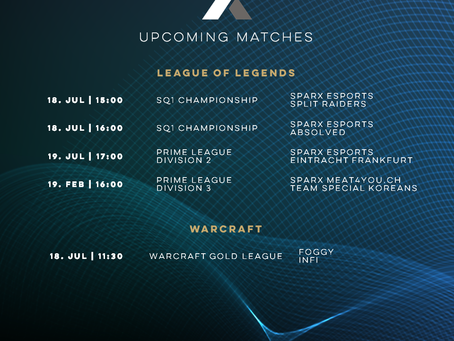 This Weeks' Upcoming Matches