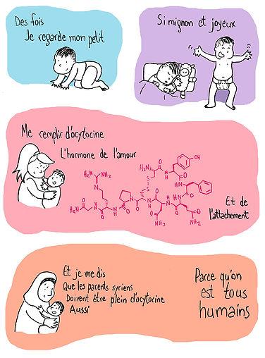 Planche de bande dessinée de Catherine Bard représentant l'amour qu'un parent porte à son enfant, peu importe son origine, du Québec à la Syrie