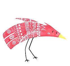 Illustration d'un oiseau rouge à l'aquarelle, avec des motifs