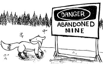 Image tirée du livre « Impressions de Yellowknife » de Catherine Bard représentant un renard à Yellowknife à côté d'une mine de diamands abandonnée