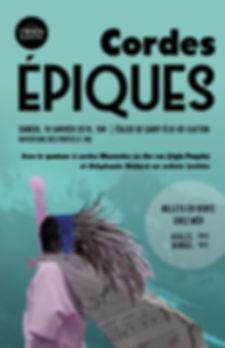 Affiche pour le spectacle Cordes Épiques de l'Orphéon de Saint-Élie-de-Caxton