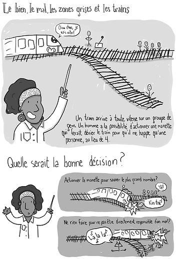 Planche de bande dessinée représentant un dilemme philosophique à propos d'un train, racontée par une femme de couleur en sarrau