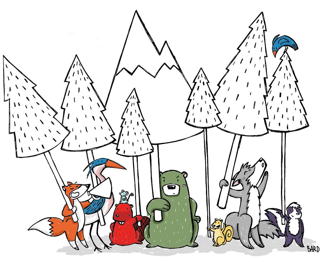 Dessin d'animaux sauvages (ours, renard, héron, castor, écureuil, loup et moufette) qu manifestent dans la forêt avec des pancartes d'arbres.