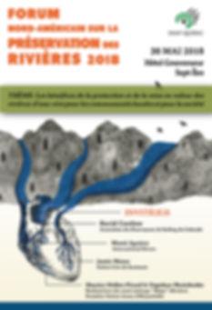 Affiche réalisé pour la SNAP Québec dans le cadre du Forum nord-américain sur la préservation des rivières 2018. On y voit un coeur dont les artères se transforment en rivières.