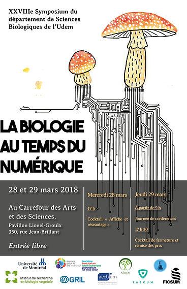 Affiche réalisée pour l'Université de Montréal sur le thème La biologie au temps du numérique. On y voit un champignon avec des mycchorizes électroniques.