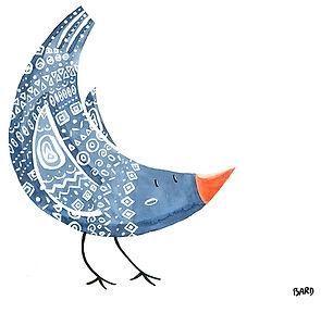 Illustration à l'aquarelle d'un oiseau bleu avec des motifs
