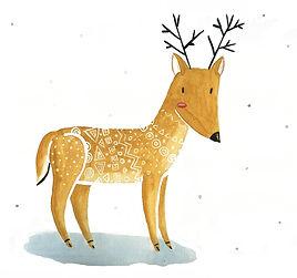 Illustration d'un cerf à l'aquarelle couleur sable, avec des motifs