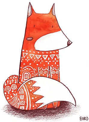 Illustration à l'aquarelle d'un renard orange, avec des motifs