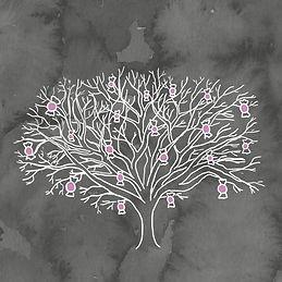 Illustration de l'arbre à paparmanes réalisé pour la municipalité de Saint-Élie-de-Caxton, le village de Fred Pellerin