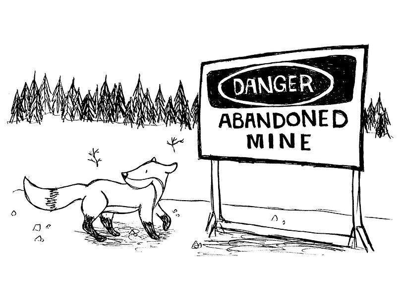Illustration d'un renard près d'une mine abandonnée à Yellowknife, dans les Territoires du nord-ouest (TNO), Canada
