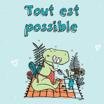 Un tyranosaure ser le thé à une petite fille car tout est possible