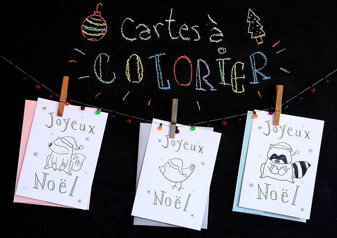 Cartes de Noël à colorier avec des dessins d'animaux mignons dessus