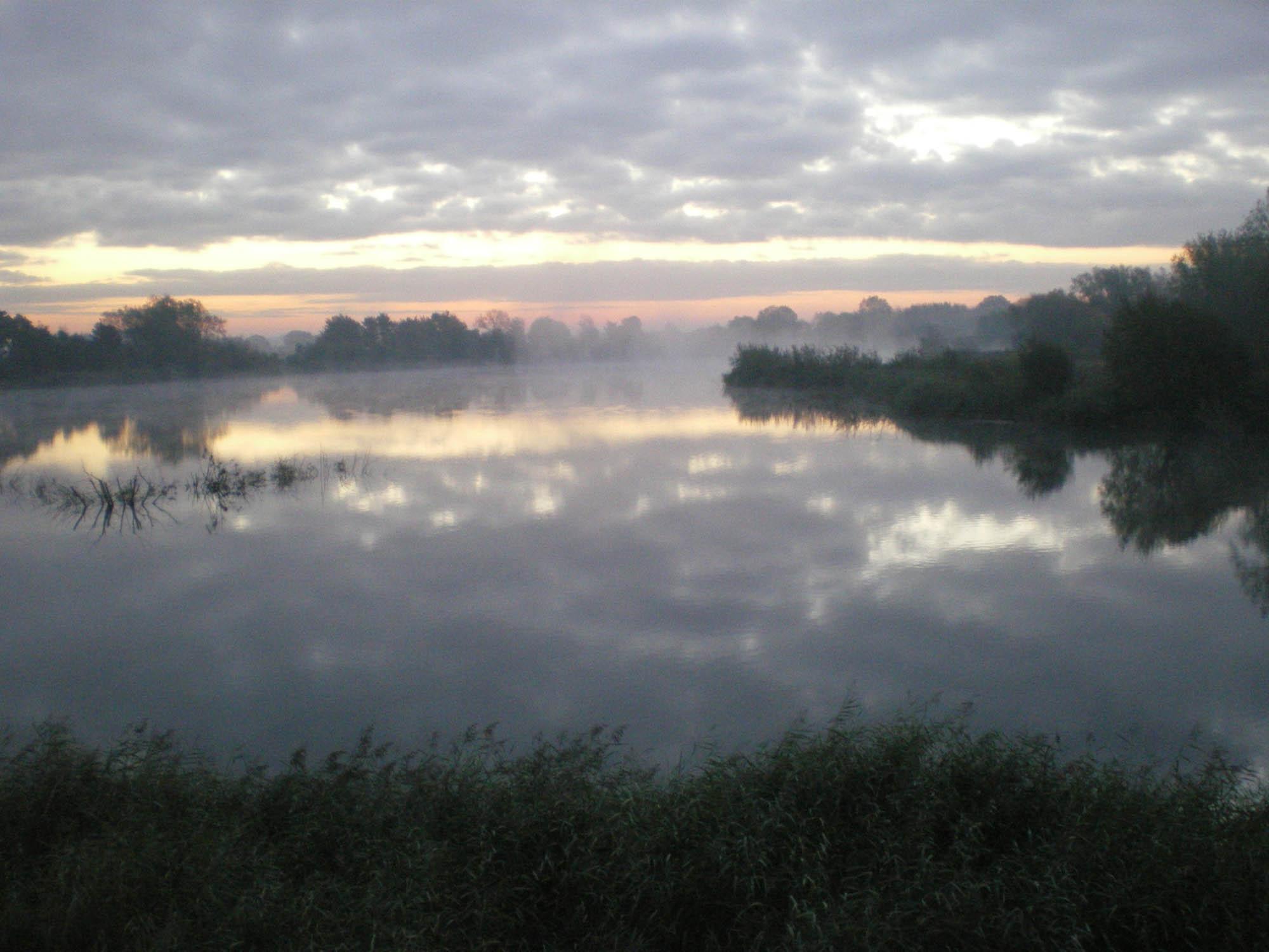 Autumn sunrise over Somerford Lagoon