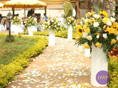 Floral wedding reception entry way.