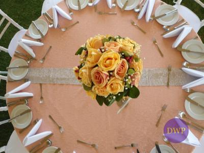Wedding reception table set up.