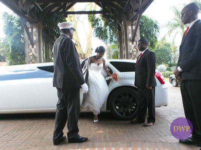 Bride coming out of white limousine.
