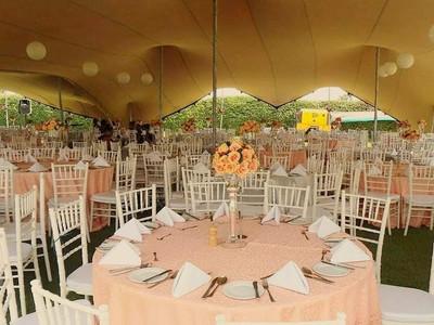 A weddig reception with stretch tent.