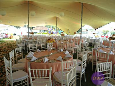 Stretch tent wedding reception.