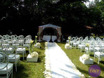 Garden wedding reception white and gold.