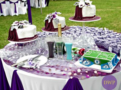 Unique wedding cake table setup.