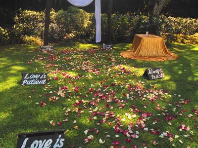 Rustic garden wedding ceremony.