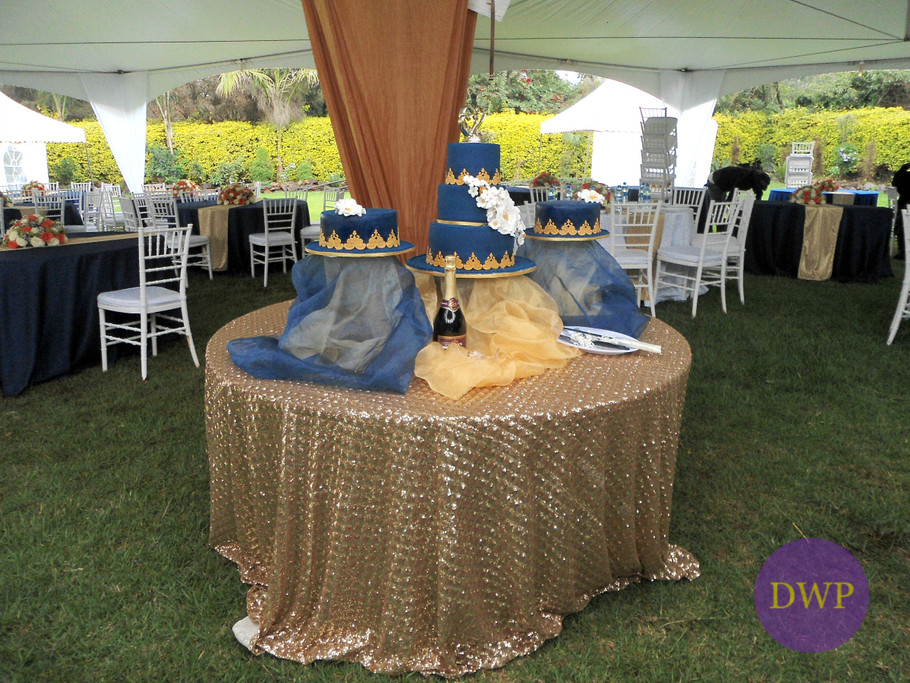 Navy blue and gold cake.