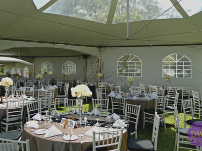 Wedding reception with hex tent.