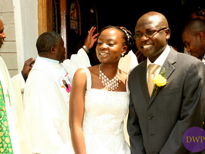Bride and groom after church ceremony