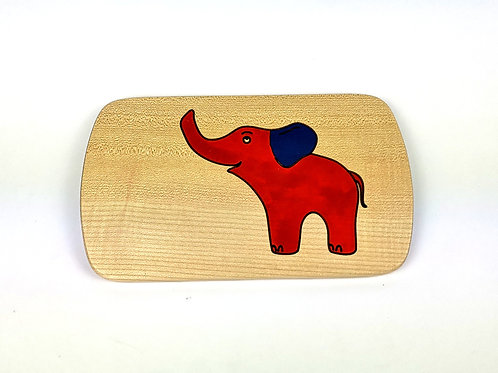 Frühstücksbrettchen Elefant rot - auch graviert