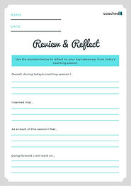 Coaching session debrief and self reflection worksheet