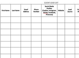 Coach client lead list log to keep track of marketing efforts.