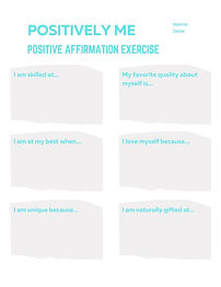 Positive affirmation exercise and prompts