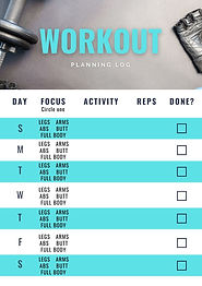 Plan workouts, log reps, and mark completion with this exercise log.