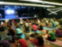 Kata van Doesselaar teaching Yin Yoga in Budapest