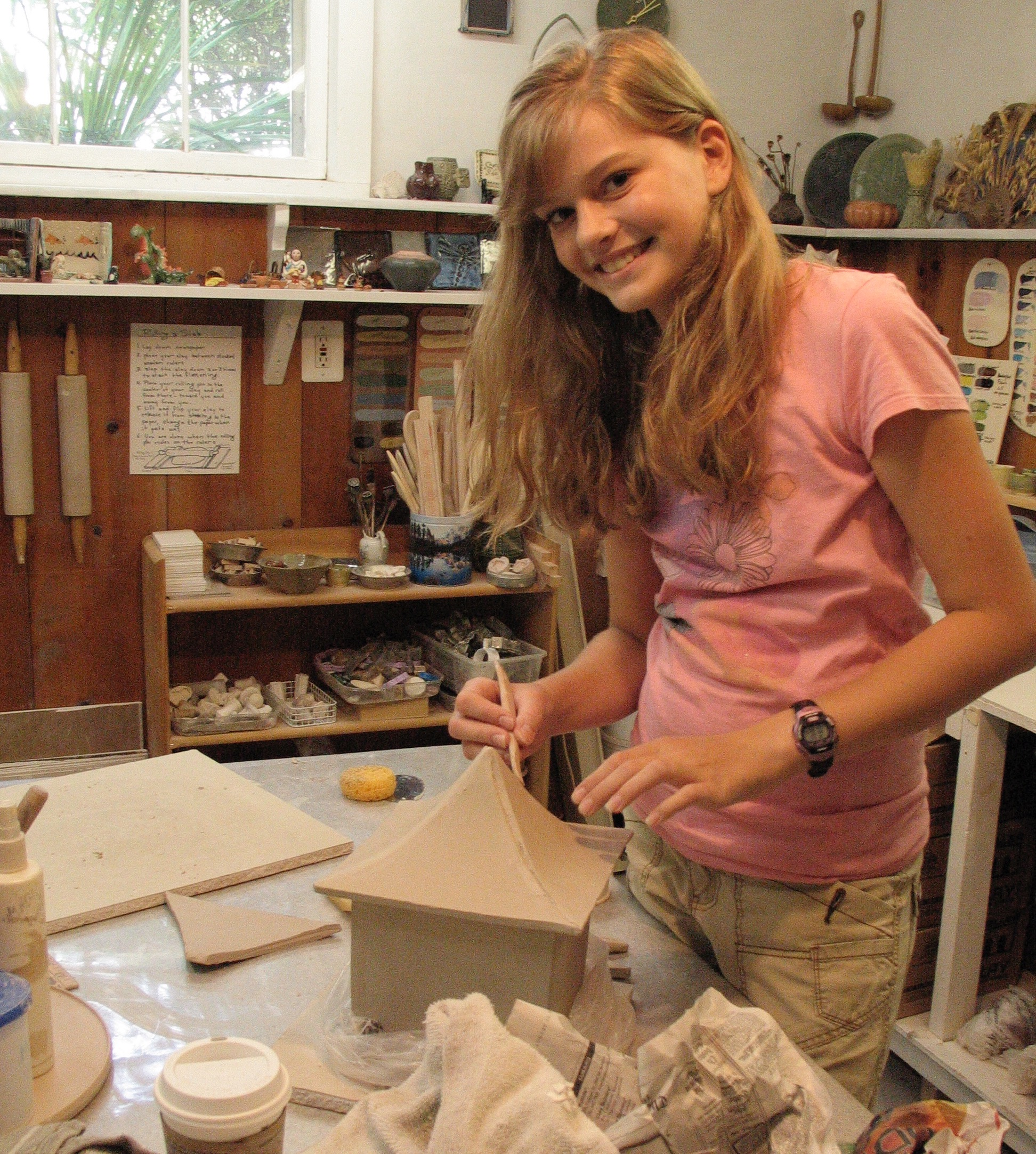 Madeline at work on a lantern