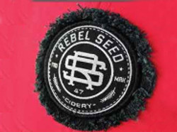 Distressed woven badge