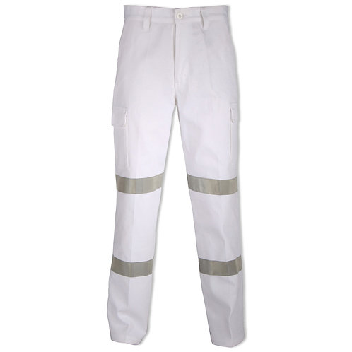 Mens Hi Viz Cotton Drill Taped Cargo Pants