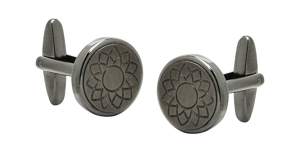 Gunmetal Cufflinks with Engraved Detail