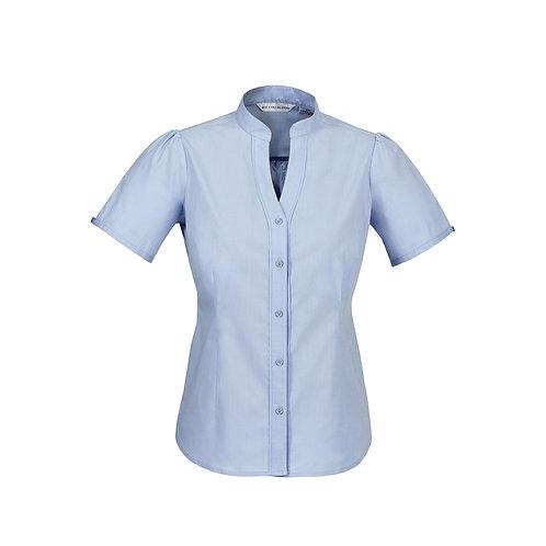 Ladies Chevron Stand Collar Cotton rich fine stripe shirt
