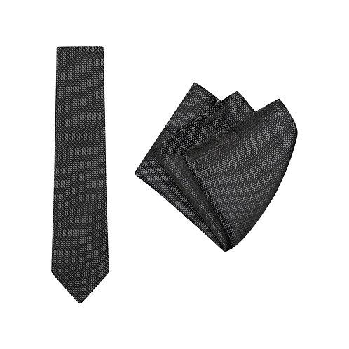 Mens Grid Tie and Pocket Square Set
