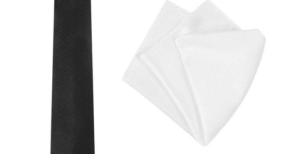 Mens Carbon Tie and Pocket Square Set