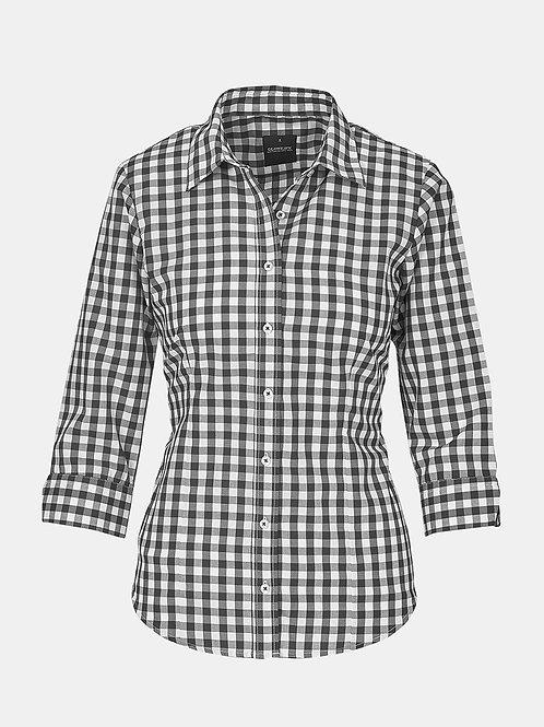 Ladies Long Sleeve Royal Oxford Gingham Check Shirt