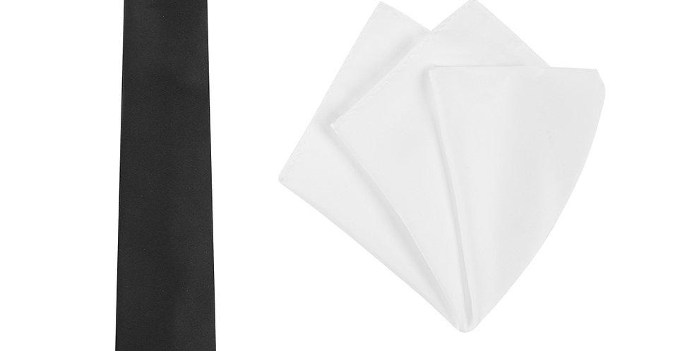 Mens Plain Tie and Pocket Square Set