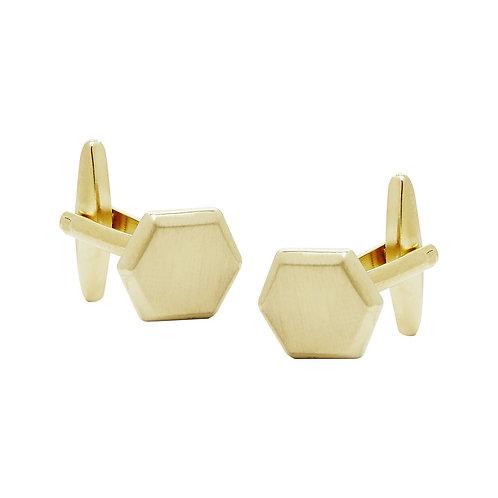Brushed Gold Hexagon Cufflinks